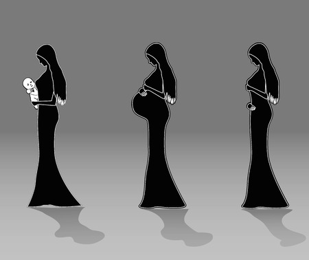 prolific: Infographic of pregnant woman in different period. Vector illustration