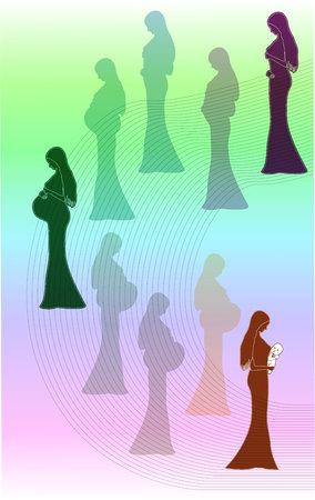 別の期間の妊婦のインフォ グラフィック。ベクトル図