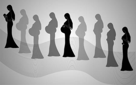 Infographic van de zwangere vrouw in de andere periode. vector illustratie