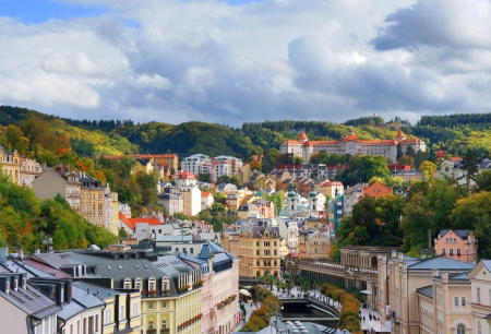 summerhouse: View of Karlovy Vary Stock Photo