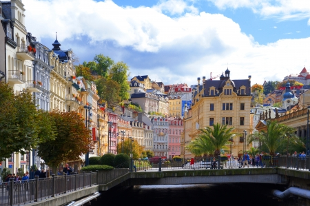 vary: Tepla river in Karlsbad  Karlovy Vary  Editorial
