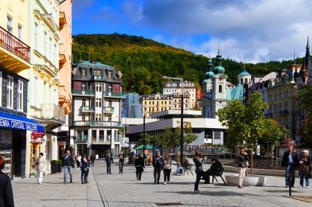 karlovy: Stara Louka street of Karlsbad  Karlovy Vary   Editorial