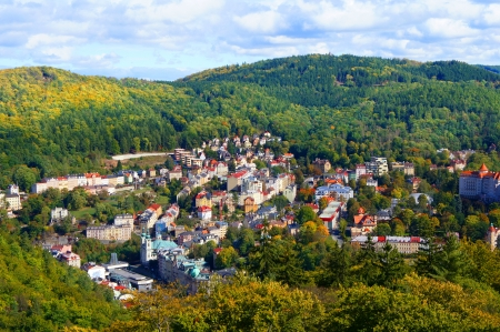 vary: Karlovy Vary  Karlsbad  panorama  Stock Photo