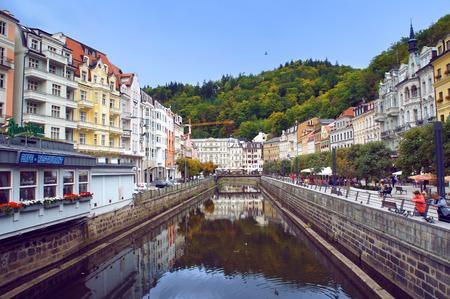 vary: Stara Louka street of Karlsbad  Karlovy Vary  Editorial