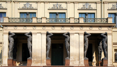 architrave: The Portico of New Hermitage, Saint Petersburg Stock Photo