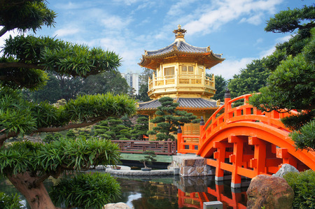 Chinese pavilion at the park of Hong Kong photo