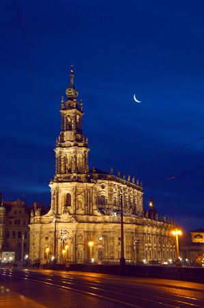 Dresden Cathedral by night