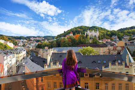 karlovy: Girl relax on the balcony in the Karlovy Vary