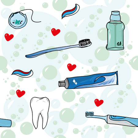 dentist symbol: Tooth care with love seamless pattern Illustration