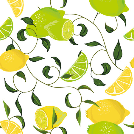 Citrus swirling seamless pattern Vector