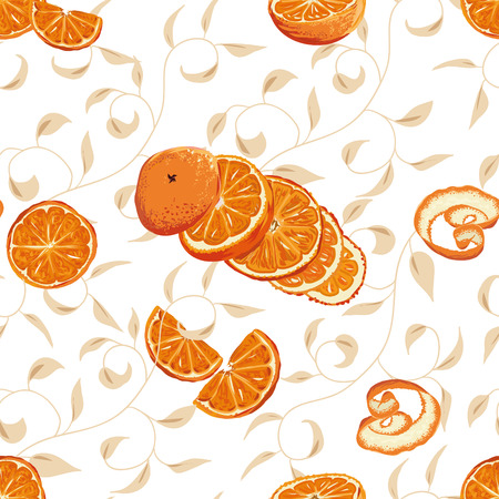 Orange swirling seamless background Vector