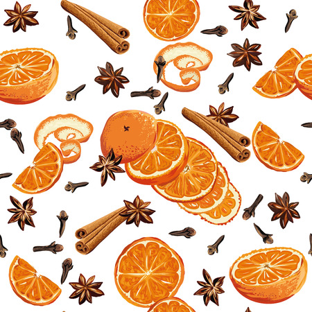 Mulled wine ingridients seamless background, EPS10 file Stock Illustratie