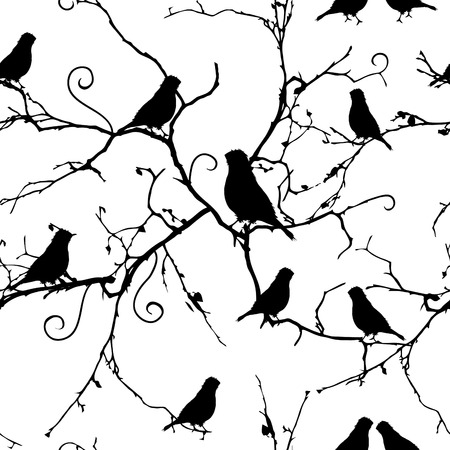 Birds on swirling branches seamless pattern, EPS10 file Vector