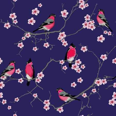 Bullfinches on the sakura branch purple seamless pattern, EPS10 file Vector