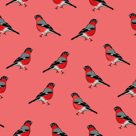 small flock: Bullfinches red seamless print, EPS10 file Illustration