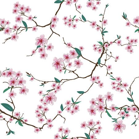 Chinese sakura white seamless pattern, EPS10 file Illustration