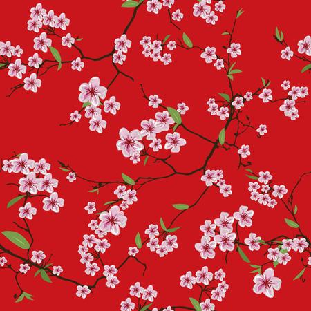Chinese sakura red kimono seamless pattern Vector