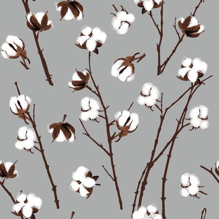 cotton: Cotton plants grey seamless pattern