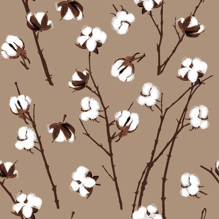 cotton plant: Cotton plants beige seamless pattern, EPS10 file