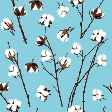 Cotton plants cyan seamless pattern Vector