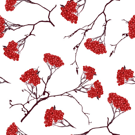 raceme: Ashberry on the white snow seamless pattern