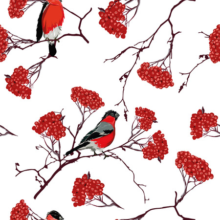 birdsong: Bullfinches on mountain ash branches seamless pattern
