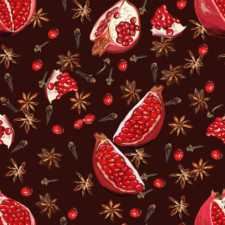 Chocolate spicy pomegranate seamless pattern Vector