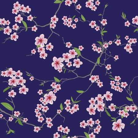 Chinese sakura dark blue kimono seamless pattern Vector