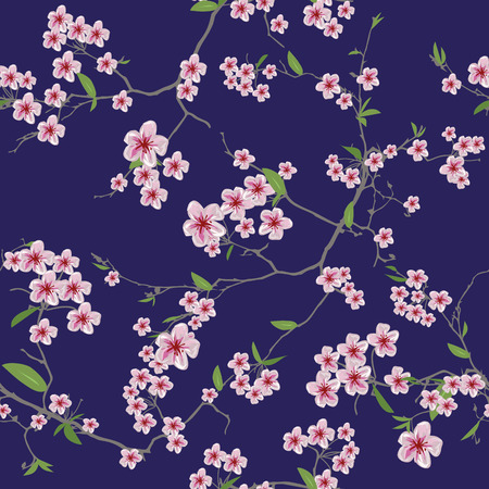 florescence: Chinese sakura dark blue kimono seamless pattern