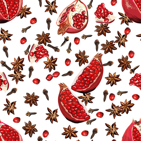 White spicy pomegranate seamless pattern Vector