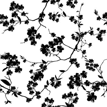 黒と白の桜 EPS10 ファイル、シームレスなパターン
