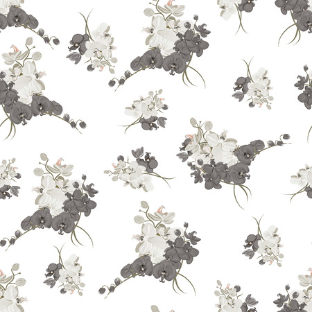 simple purity flowers: Rococo style neutral seamless background Illustration