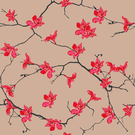 florescence: Red flowers almond seamless pattern Illustration