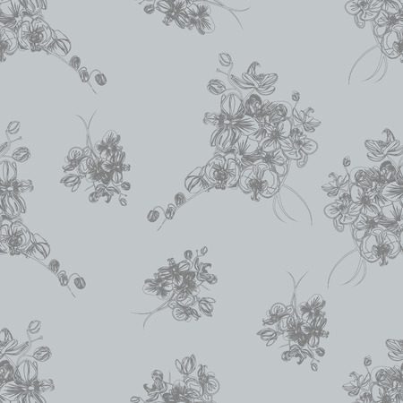 simple purity flowers: Neutral grey french seamless pattern