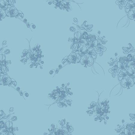 simple purity flowers: Aquamarine floral french seamless pattern