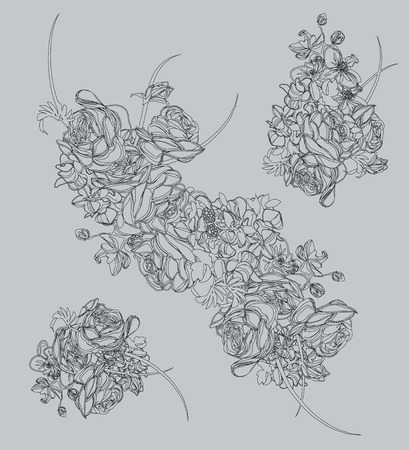 French bouquet contour design elements Ilustrace