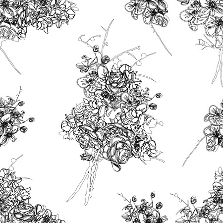 French bouquet contour seamless pattern