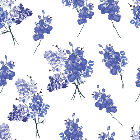 Violet french bouquet seamless pattern Vector