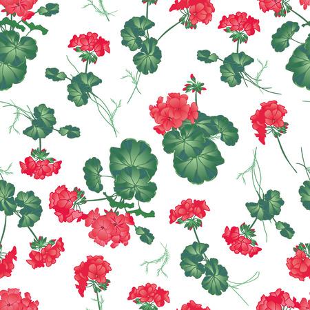 Soft red geranium seamless pattern, EPS10 file Illustration