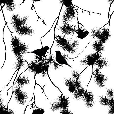Birds on pine branches seamless print