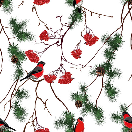 Winter forest Christmas seamless pattern Vector