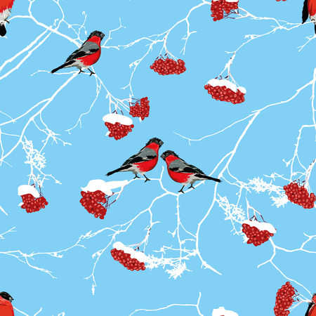 birdsong: White Christmas morning seamless background