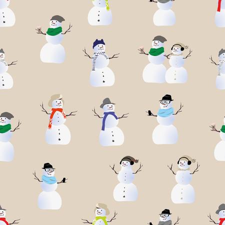 snood: Cool hipster snowmen seamless print