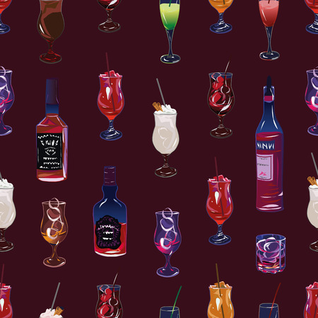 Cocktail party burgundy seamless pattern, EPS10 file Vector