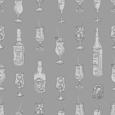 Cocktail party grey neutral seamless pattern, EPS10 file Vector