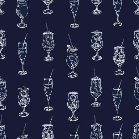 bocal: Cocktail party navy and white seamless pattern Illustration