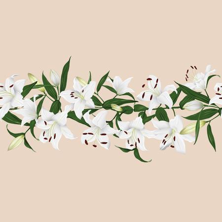 Lilies almond horizontal seamless banner Vector
