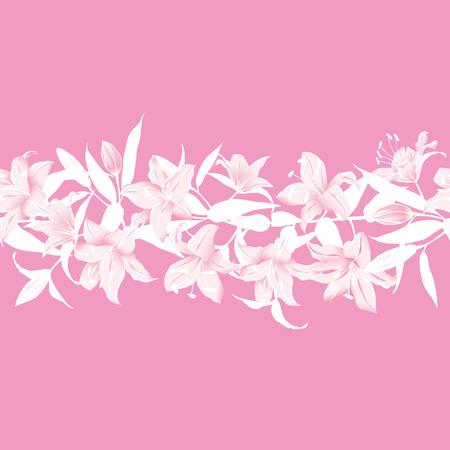 Lilies pink horizontal seamless banner Vector