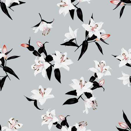 Exotic lilies grey seamless vector print Vector