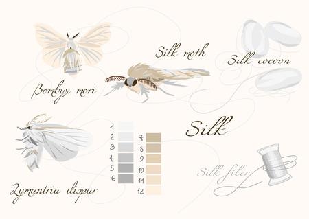 Silk cultivation white seamless vector set Illustration